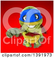 3d Green Tortoise Super Hero On A Red Background