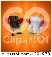 Clipart Of A 3d Tooth Character Boxing Chocolate On An Orange Background Royalty Free Illustration