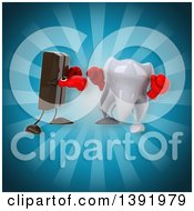 Clipart Of A 3d Tooth Character Boxing Chocolate On A Blue Background Royalty Free Illustration
