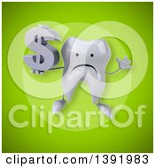 Clipart Of A 3d Tooth Character Holding A Dollar Symbol On A Green Background Royalty Free Illustration