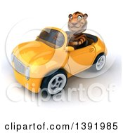 3d Tiger Driving A Convertible Car On A White Background