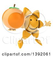 Clipart Of A 3d Sun Character Holding A Navel Orange On A White Background Royalty Free Illustration