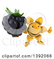 Clipart Of A 3d Sun Character Holding A Blackberry On A White Background Royalty Free Illustration