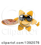 Clipart Of A 3d Sun Character Holding A Pizza On A White Background Royalty Free Illustration