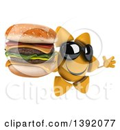 Clipart Of A 3d Sun Character Holding A Double Burger On A White Background Royalty Free Illustration