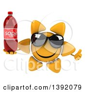 Clipart Of A 3d Sun Character Holding A Soda Bottle On A White Background Royalty Free Illustration