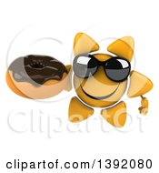 Clipart Of A 3d Sun Character Holding A Donut On A White Background Royalty Free Illustration
