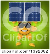 Clipart Of A 3d Sun Character Holding A Solar Panel On A Green Background Royalty Free Illustration