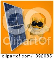 Clipart Of A 3d Sun Character Holding A Solar Panel On An Orange Background Royalty Free Illustration
