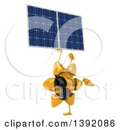 Clipart Of A 3d Sun Character Holding A Solar Panel On A White Background Royalty Free Illustration