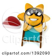 Clipart Of A 3d Sun Character Holding A Beef Steak On A White Background Royalty Free Illustration