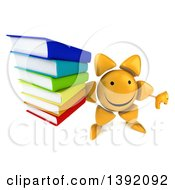 Clipart Of A 3d Sun Character Holding Books On A White Background Royalty Free Illustration