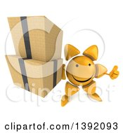 Clipart Of A 3d Sun Character Holding Boxes On A White Background Royalty Free Illustration