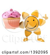 Clipart Of A 3d Sun Character Holding A Cupcake On A White Background Royalty Free Illustration