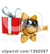 Clipart Of A 3d Sun Character Holding A Gift On A White Background Royalty Free Illustration