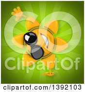 Clipart Of A 3d Sun Character On A Green Background Royalty Free Illustration