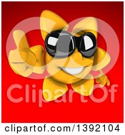 Clipart Of A 3d Sun Character On A Red Background Royalty Free Illustration