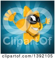 Clipart Of A 3d Sun Character On A Blue Background Royalty Free Illustration
