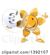 Clipart Of A 3d Sun Character Holding A Euro Currency Symbol On A White Background Royalty Free Illustration