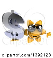 Clipart Of A 3d Sun Character Holding A Dollar Currency Symbol On A White Background Royalty Free Illustration