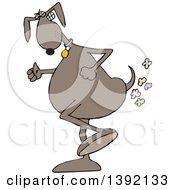 Toon Clipart Of A Brown Dog Walking Upright And Farting Royalty Free Vector Illustration