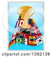 Clipart Of A Gold Trophy Over A Wave Of World Flags On Blue Royalty Free Vector Illustration