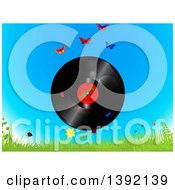 Clipart Of A Vinyl Record With A Spring Time Label Over Sky Butterflies Grass And Flowers Royalty Free Vector Illustration