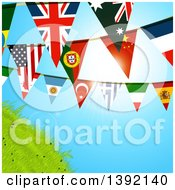 Clipart Of World Flag Bunting Banners Against A Sunny Sky And Hill Royalty Free Vector Illustration