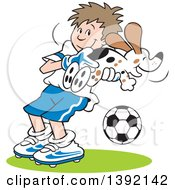 Clipart Of A Cartoon Soccer Player Goalie Boy Catching A Dog Royalty Free Vector Illustration by Johnny Sajem