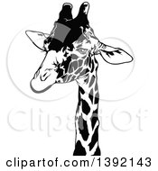 Clipart Of A Black And White Giraffe Head Royalty Free Vector Illustration by dero