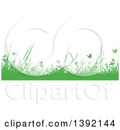 Clipart Of A Border Of Silhouetted Green Weeds And Butterflies Royalty Free Vector Illustration