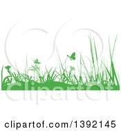 Clipart Of A Border Of Green Silhouetted Weeds And Butterflies Royalty Free Vector Illustration