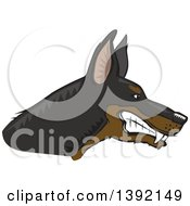 Clipart Of A Woodcut Tough Snarling Doberman Pinscher Dog Head In Profile Royalty Free Vector Illustration