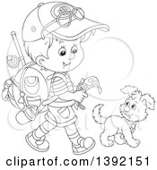 Clipart Of A Cartoon Black And White Lineart Little Boy Ready To Go Explore Walking With A Puppy Dog Royalty Free Vector Illustration
