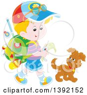 Clipart Of A Cartoon Little Blond Caucasian Boy Ready To Go Explore Walking With A Puppy Dog Royalty Free Vector Illustration