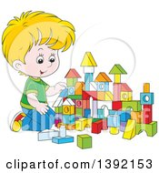 Cartoon Little Blond White Boy Playing With Toy Blocks