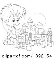 Clipart Of A Cartoon Black And White Lineart Little Boy Playing With Toy Blocks Royalty Free Vector Illustration