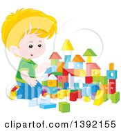 Clipart Of A Cartoon Little Blond Caucasian Boy Playing With Toy Blocks Royalty Free Vector Illustration