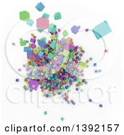 Clipart Of A Background Of An Aerial View On 3d Colorful Cubes Resembling A Crowded Cityscape On White Royalty Free Illustration