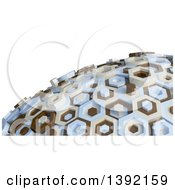 3d Abstract Brown Tan And Blue Hexagon Globe On White