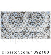 Clipart Of A 3d Abstract Brown Tan And Blue Hexagon Pattern Background Royalty Free Illustration by KJ Pargeter
