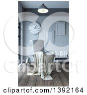 Clipart Of A 3d Blanket Draped Over A White Leather Chair In A Room Interior Royalty Free Illustration by KJ Pargeter