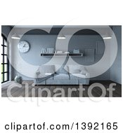 Clipart Of A 3d Room Interior With A Sofa Shelf Frames Wall Clock And Vase On Wood Flooring Royalty Free Illustration