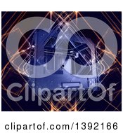 Clipart Of A 3d Printer On A Glowing Light Background Royalty Free Illustration