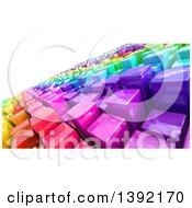 Clipart Of A Tilted Background Of 3d Colorful Cubes Resembling A Crowded Cityscape On White Royalty Free Illustration