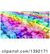 Clipart Of A Background Of 3d Colorful Cubes Resembling A Crowded Cityscape Royalty Free Illustration