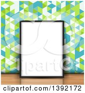 Clipart Of A 3d Blank Picture Frame Leaning Against Retro Geometric Wallpaper On A Wood Floor Royalty Free Vector Illustration by KJ Pargeter