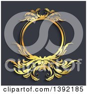 Clipart Of A Golden Wreath Frame Over Gray Royalty Free Vector Illustration