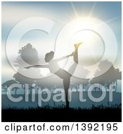 Clipart Of A Fit Silhouetted Woman Doing Yoga Against A Sunset In A Park Royalty Free Vector Illustration by KJ Pargeter