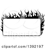 Clipart Of A Black And White Rectangular Flaming Label Frame Design Royalty Free Vector Illustration